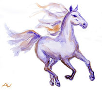 Horse in motion, watercolor painting by valenty