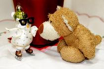 Teddybär und Eule mit Schlittschuhen by Olga Sander