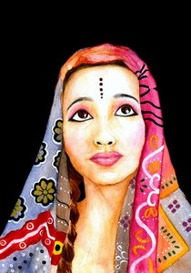 Indian Girl Portrait Painting by Katri Ketola