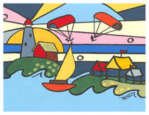 Lighthouse with kite boards and tents by Robin (Rob) Pelton