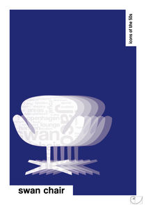 Swan Chair / Design Icons of the 50s / Classic Pantone Poster by patricon