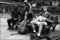 New Orleans Three-Piece Band on Bench by Michael Whitaker