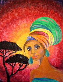 Turban Girl - Africa Painting by Katri Ketola