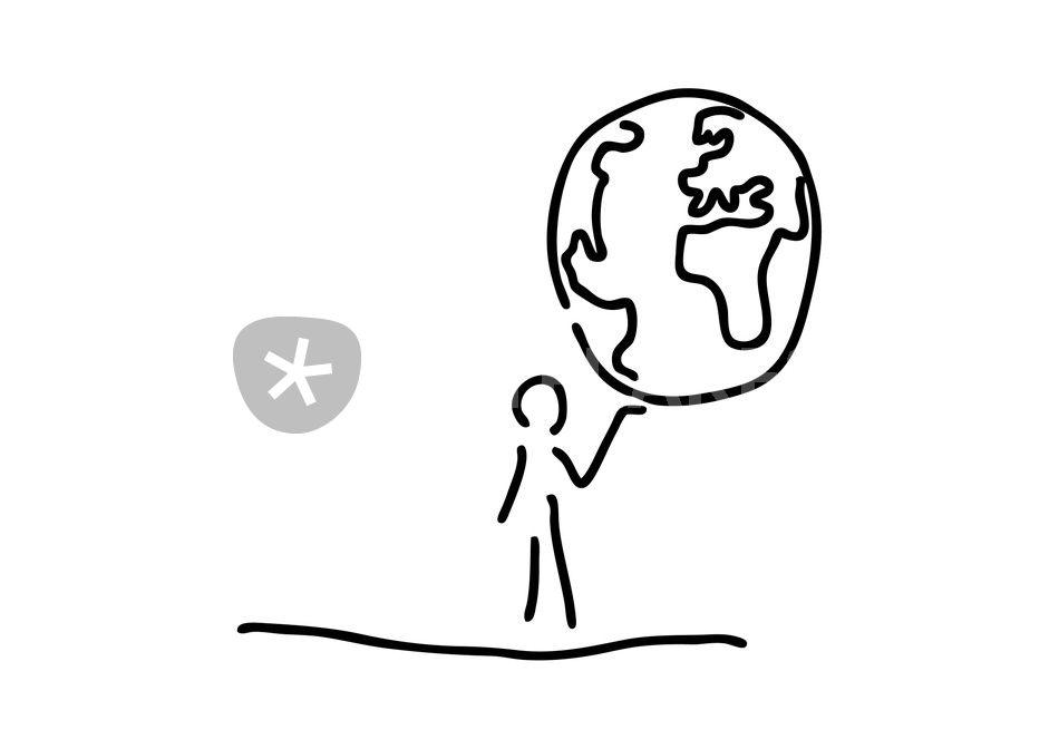 mann traegt welt weltkugel globus grafik illustration. Black Bedroom Furniture Sets. Home Design Ideas