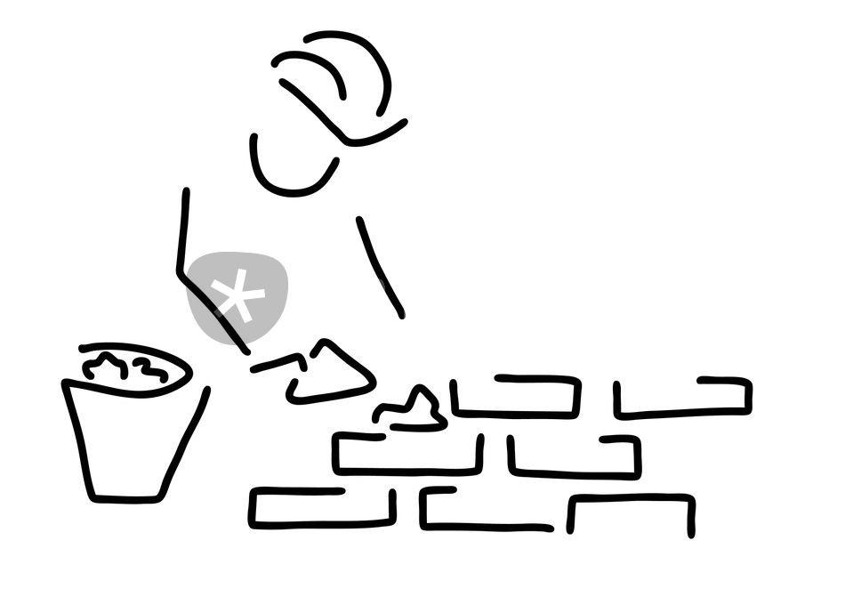 maurer bauarbeiter hausbau mauer grafik illustration als poster und kunstdruck von lineamentum. Black Bedroom Furniture Sets. Home Design Ideas