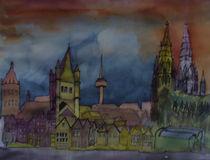 Köln, Rheinufer, nachts von Gerhard Stolpa