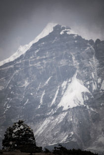 A stupa and the massive peak of Pandim by Brent Olson