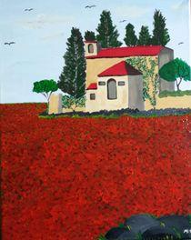 Anwesen im Mohnfeld / Manor in a poppy field von Mischa Kessler