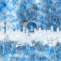london skyline, blue, london, england by bekimart