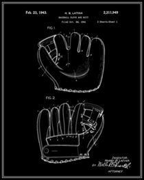 Baseball Glove Patent - Black and White von Finlay McNevin