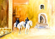 White Horses By The Cathedral In Palma De Mallorca von Miki de Goodaboom
