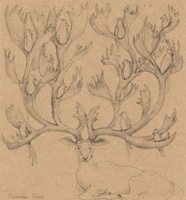 Deer with birds by Elisaveta Sivas