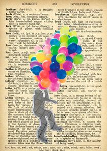"Vintage dictionary poster, ""Balloon man"" von Gloria Sánchez"