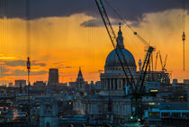 Sunset over St Paul's Cathedral with cranes by Graham Prentice