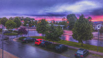 Sunset over Laupheim City Trainstation by Michael Naegele