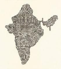 Lettering map of India von Mariana Beldi