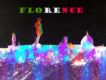 Florence Skyline With Flag Banner von bill holkham