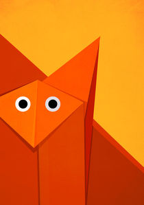 Abstract Geometric Cute Origami Fox by Boriana Giormova