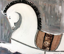 White-warrior-horse-100-x-120-cm-oil-on-canvas-mixed-media-collage-2011