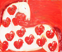 White horse with red apples by Elisaveta Sivas