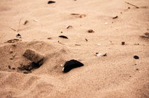 Sand mit Muscheln und Steinen von framboise