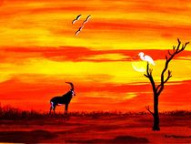 Sunset Black Sable Antelope with White Heron by Brent  Townsend