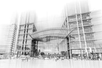 Berlin main railway station - artwork like technical drawing by paganin