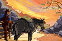 Resting Cowboy von Bedros Awak