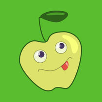Happy Cartoon Green Apple by Boriana Giormova