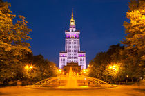 Palace of Culture and Science in Warsaw, Poland at night von Sara Winter