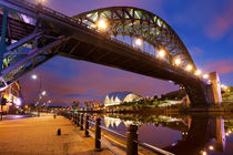 Bridges over the river Tyne in Newcastle, England at night by Sara Winter
