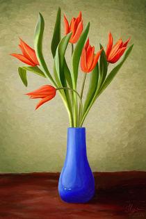 Red-tulips-in-blue-vase