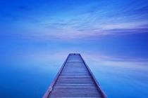 Jetty on a still lake at dawn in The Netherlands by Sara Winter