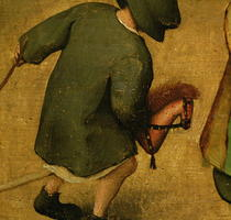 Kinderspiele, Detail eines Kindes mit einem Holzpferd by Pieter Brueghel the Elder