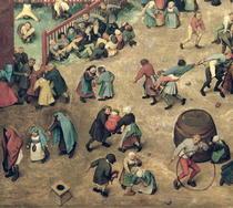 Kinderspiele: Detail der linken Abschnitt zeigt Kindern Bowling  by Pieter Brueghel the Elder