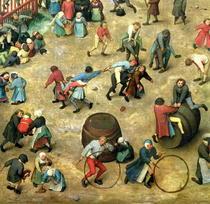 Kinderspiele: Detail der unteren Abschnitt zeigt verschiedene Sp von Pieter Brueghel the Elder
