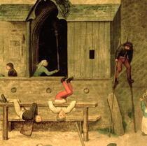 Kinderspiele: Detail eines Jungen auf Stelzen und spielenden Kin by Pieter Brueghel the Elder