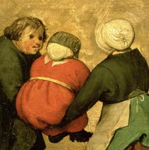 Kinderspiele: Detail eines Kindes durch zwei andere by Pieter Brueghel the Elder
