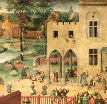 Kinderspiele: Detail der linken oberen Ecke zeigt Kindern Kreise von Pieter Brueghel the Elder