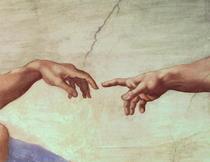 Hands von Gott und Adam, Ausschnitt aus Die Erschaffung Adams, a von Buonarroti Michelangelo