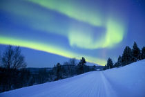 Aurora borealis over a road through winter landscape, Finnish Lapland von Sara Winter