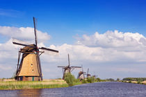 Traditional Dutch windmills on a sunny day at the Kinderdijk von Sara Winter