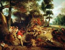 Die Wildschweinjagd, nach einem Gemälde von Rubens by Ferdinand Victor Eugèn  Delacroix