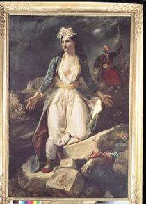 Griechenland auslaufenden auf den Ruinen des Missolonghi by Ferdinand Victor Eugèn  Delacroix