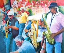 Menschen Malerei - Jazz auf der Karlsbrücke in Prag by Geert Bordich
