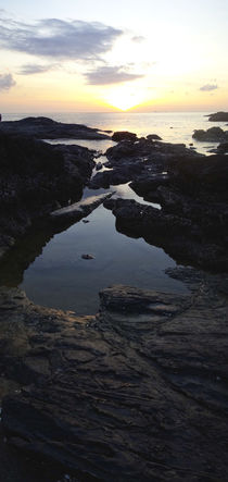 Beach with rocks at sunset, by Perry  van Munster