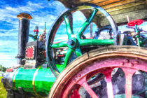 Clayton and Shuttleworth Traction Engine Art by David Pyatt