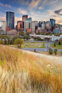 Skyline of Calgary, Alberta, Canada at sunset von Sara Winter