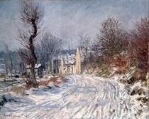 Die Straße nach Giverny, Winter by Claude Monet