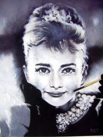 Portrait Malerei - Audrey Hepburn_(Frühstück bei Tiffany) von Geert Bordich